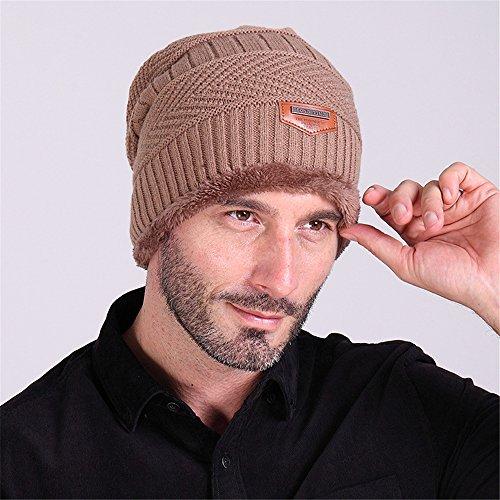 para BaronHong terciopelo hombres de punto el sombrero esquí invierno de de Gorra caqui Gorra AAUwvq