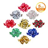Zoe Deco Gift Bows (Multiple Colors, 5' Wide, 18 Loops, 9 Pack), Weather Resistant Gift Bow, Colorful and Eye-catching Pull Bows, Bows for Gifts, Gift Bows for Presents, Gift Wrapping and Decoration