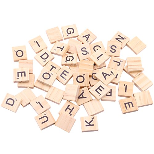 Dedoot 100PCs Scrabble Natural Wood Tiles Blocks 26 English Alphabet Letter DIY Spell Recognition Alphabet Wood Chips Home & Christmas Decorations