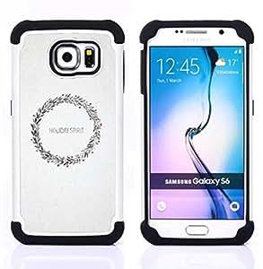 Dragon Case- Dise?¡Ào de doble capa pata de cabra Tuff Impacto Armor h??brido de goma suave de silicona cubierta d FOR Samsung Galaxy S6 G9200- X MAS HOLIDAY WREATH WHITE SNOW CHRISTMAS