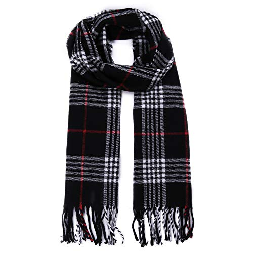 SOJOS Plaid Tartan Cashmere Scarves with Tassels for Men and Women SC3010 with Black Plaid (Fashion Scarf Men)