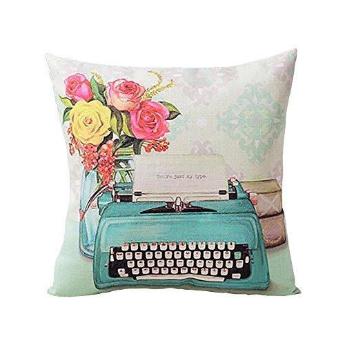 ME COO European Retro Style Camera Pillow Cover Garden Flower Series Cushion Case Oil Painting Style Throw Pillow Case Pillowcase 17 Inches 17 Inches 1 Pcs (ME-BZXB-7)