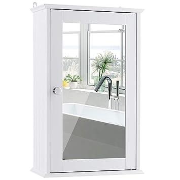 COSTWAY Spiegelschrank Badezimmer, Badschrank mit Spiegel,  Badezimmerschrank weiß, Badezimmerspiegel mit Ablage, Hängeschrank  Badmöbel, ...