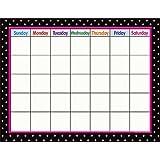 Teacher Created Resources Black Polka Dots Calendar Chart, Black (7605)