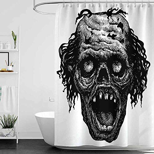 scenine Cool Shower Curtains for Mens Bathroom Halloween,Zombie Head Evil Dead Man Portrait Fiction Creature Scary Monster Graphic,Black Dark Grey W72 x L96,Shower Curtain for Shower stall]()