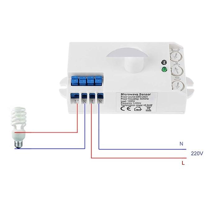 Ycncixwd 360 ° - Sensor de de microondas (1200 W, 220 V, Detector ...