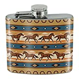 Southwest Running Horses and Horseshoes Stainless Steel 5oz Hip Drink Kidney Flask