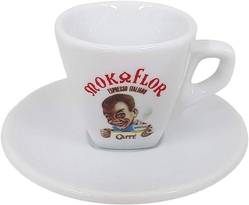 Mokaflor italienische Espressotasse Moretto mit Unterteller, Rösterei aus Italien
