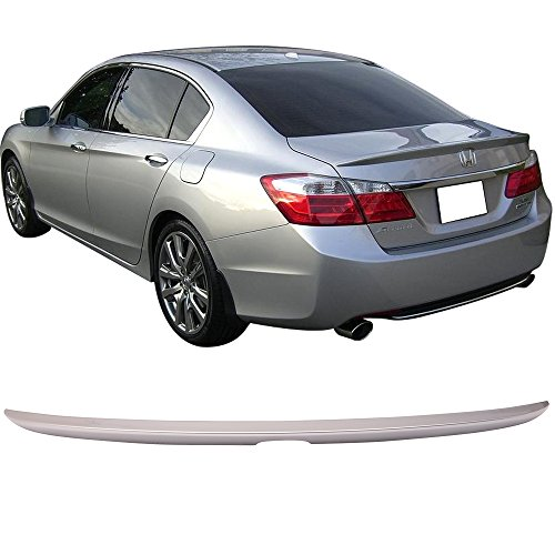 Pre-painted Trunk Spoiler Fits 2013-2016 Honda Accord | OE Style ABS Painted #NH700M Alabaster Silver Metallic Rear Tail Lip Deck Boot Wing By IKON MOTORSPORTS | 2014 2015