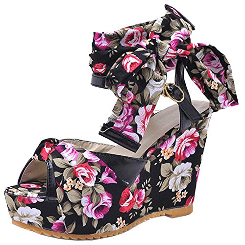 High Floral Buckle Sandals Women TAOFFEN Wedges Peep Heel Toe Fashion Slingback Black vwYzvqI