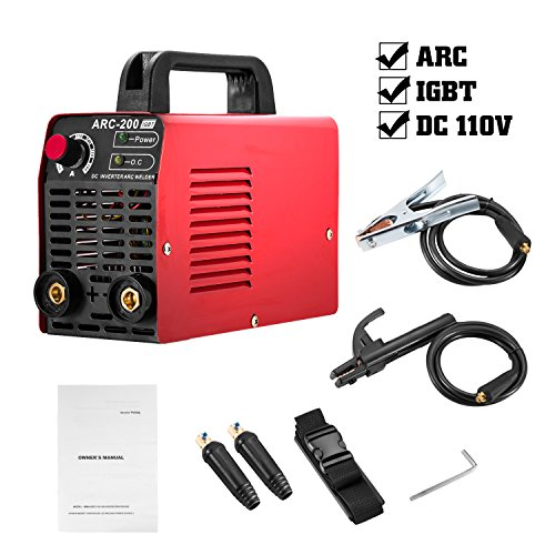 Arc Welder 110V 200Amp Welding Machine IGBT Inverter AC-DC mini Electric Welders free Accessories Tools High Frequency Household Smart Welder for Novice Welders fits 3.2mm weling rods (Red)