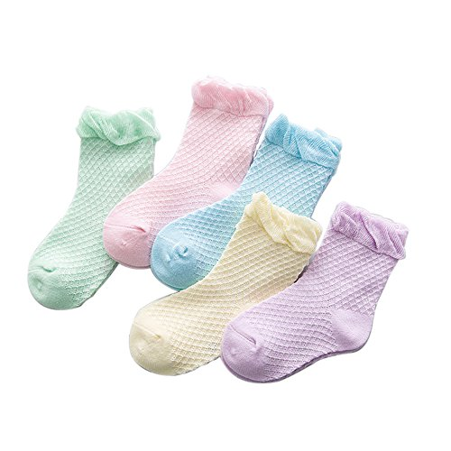 Nike Girls Spring - FQIAO Girl Sock Cotton 5Pack Fashion Soft Unisex 4-6 Years Summer Breathable Socks