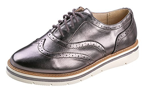 Soda White Bottom Dames Oxford Schoenen Gunmetal