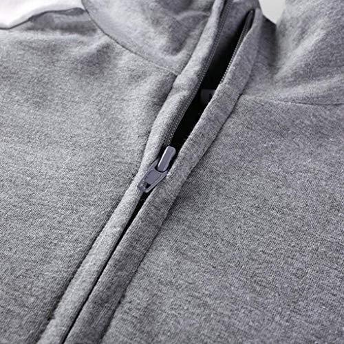 Manches Longues Courte Zipper Sweatshirt Col Stripe Shirt Hiver Blouse Tops Nouvelle Mode Montant Crop zahuihuiM Femme Gris PwZ7qAZ