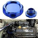 Dewhel Billet Engine Oil Fuel Filler Tank Cap Cover For Honda Acura Civic TL (Blue)