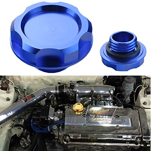(Dewhel Billet Engine Oil Fuel Filler Tank Cap Cover For Honda Acura Civic TL Color Blue)