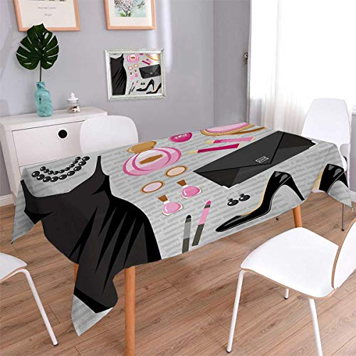 Anmaseven Heels and Dresses Rectangle Printed Tablecloth Black Smart Cocktail Dress Perfume Make Up Clutch Bag Flannel Tablecloth Black Pale Pink Pale Brown Size: W70 x L104
