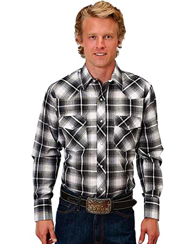 (Roper Men's Plaid Ombre Lurex Western Shirt Black XXX-Large)