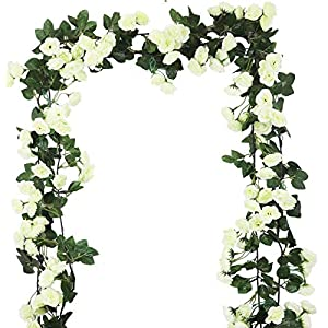Lannu 2 Pack Artificial Rose Vine Flowers Fake Garland Ivy Flowers Silk Hanging Garland Plants for Home Wedding Party Decorations, (HOT Pink) 113