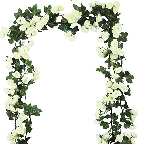 Lannu 2 Pack Artificial Rose Vine Flowers Fake Garland Ivy Flower Silk Hanging Garland Plants for Home Wedding Party Decorations, (CREAM)