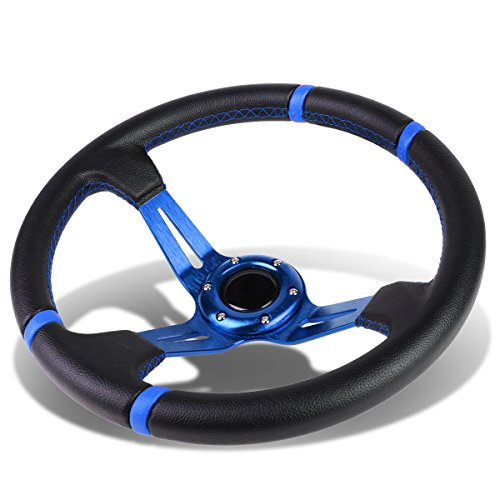 Aluminum Frame Vinyl Leather Cover 350mm 6-Bolt Steering wheels + Horn Button (Blue Spoke/Blue Stripe)