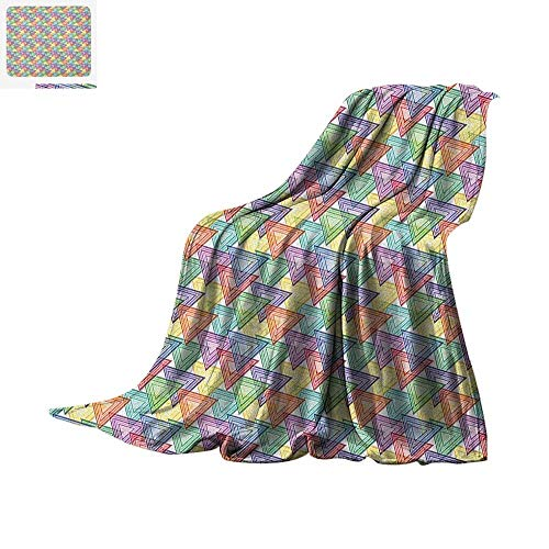 Geometric Throw Blanket Colorful Inner Triangles Vibrant Old Fashioned Forms Hippie Artsy Illustration Print Artwork Image 62