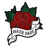PinMart's Biker Babe Red Rose Biker Chick Enamel Lapel Pin