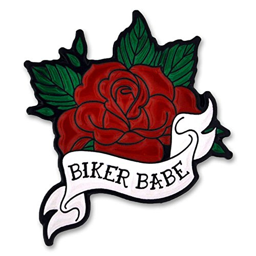 PinMart Biker Babe Red Rose Biker Chick Enamel Lapel Pin