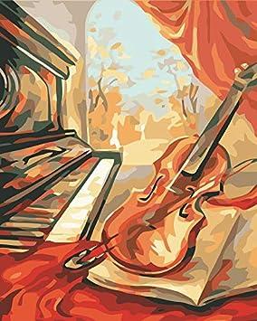 Rzyyd Pintura Por Números Violín Vintage Retro Y Música De La Guitarra Pinturas De Diy Por Números En Pinturas De La Lona Por Números En La Lona Con Un ...