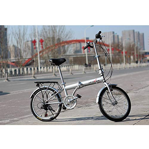 IDS Home unYOUsual U Transformer 20 Folding City Bike Bicycle 6 Speed Shimano Gear Steel Frame Mudguard Rear Carrier Front Rear Wheel Reflectors (Silver)