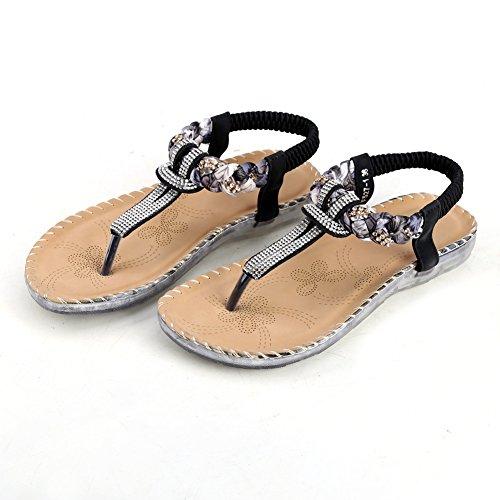 Women's Strap Elastic Black Thong Sandals Flat Slingback Zicac Rhinestone Shoes TAqSaAO
