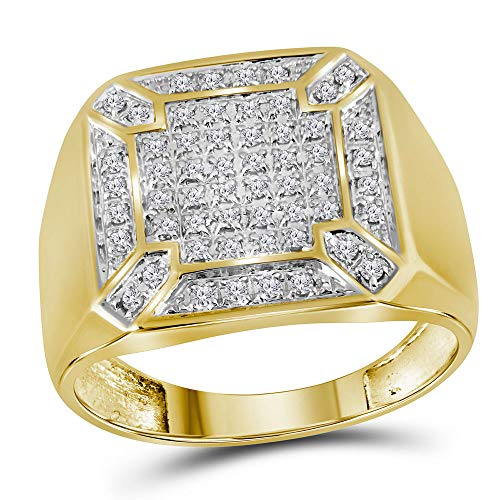 The Diamond Deal 10kt Yellow Gold Mens Round Diamond Square Cluster Ring 1/3 Cttw ()