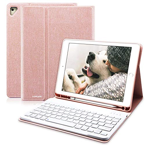 iPad Keyboard Case 9.7 for New iPad 2018 6th Gen, iPad Pro 9.7' 2017 5th Gen, iPad Air 2/Air, Wireless Detachable Keyboard, Multiple Angle Stand Honeycomb Cover with Pencil Holder (Champagne)