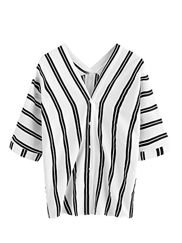 Sleeve Striped V-neck Top - MakeMeChic Women's Half Sleeve V Neck Vertical Striped Summer Casual Blouse Top Black S