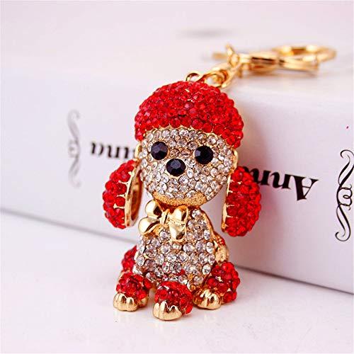 JewelBeauty Cute Rhinestone Poodle Puppy Keychain Bling Bling Diamond Crystal Dog Key Chains Ring Holder Purse Handbag Pendant Charm Gifts (red)