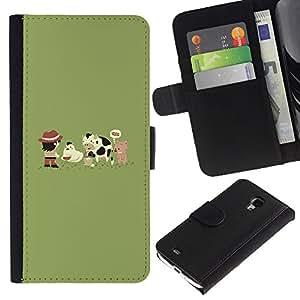 Samsung Galaxy S4 Mini i9190 - Dibujo PU billetera de cuero Funda Case Caso de la piel de la bolsa protectora Para (Funny Cute Farm Animals)