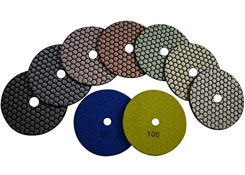 Konfor Dry Diamond 5 inch Polishing Pads Pack of 7 Best Value for Granite Marble Travertine Concrete Quartz Terrazzo Renew