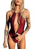 Romacci Sexy Women Halter Solid One Piece Swimsuit Deep V Neck Crochet Monokini Thong Swinwear