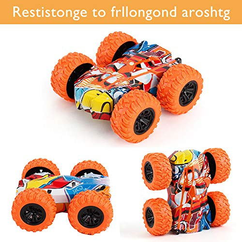 Inertia-Double Side Pull Back Cars Friction Powered Vehicles, Stunt Graffiti Car Off Road Model Toy Car-5 Combinations