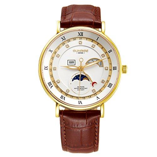 Sunrise Quartz Watch Business Luxury Men's Wristwatches Leather Strap 1117PA (Gold White)