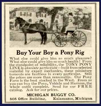 1908 Michigan Buggy Co. Advertisement for Pony Rigs for Boys (Whoa! Girls Too!) Original Paper Ephemera Authentic Vintage Print Magazine Ad/Article