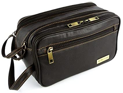 6c8d4dcb695f Mens Rowallan Brown Leather Wash Bag Travel Toiletries Travel Stylish   Amazon.co.uk  Luggage