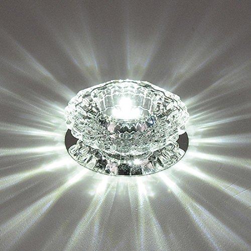 LIYUDL 1x 3W AC 85-230V Crystal LED Ceiling Light Fixture Pendant Lamp Lighting Chandelier Lighting Kitchen Restaurant Cafe Ceiling lights Fixture(White Light)