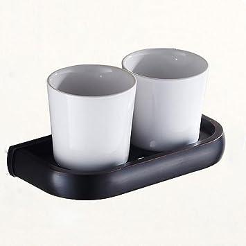 ZHANGY Accesorios de baño de Bronce Titular de la Taza del Cepillo de Dientes Negro Taza de Porcelana Antigua Taza Doble Titular: Amazon.es: Hogar