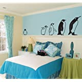 March of the Penguins Wall Decal 24 x 9 Black by Wallums