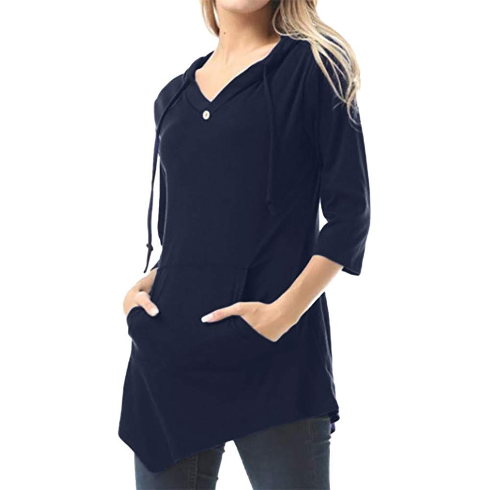 Women's Casual Solid Hoodie V Neck Blouse Asymmetric Hem Pullover 3/4 Sleeve Tunic Tops with Pockets, Plus Size Navy by Qiujold Women's Tops (Image #1)