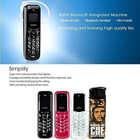 sélectionner pour le meilleur codes promo meilleure sélection de GTStar BM50 Mini téléphone Portable oreillette Mains Libres Bluetooth  Lecteur MP3, Carte SIM, réseau 2G (N