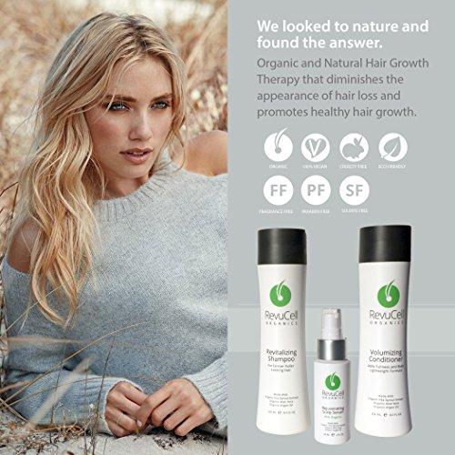 (RevuCell Organics Hair Growth Treatment Kit - for Men & Women - Includes Revitalizing Shampoo, Volumizing Conditioner and Rejuvenating Scalp Serum - Vegan & Gluten Free - Hair Color & Keratin Safe)