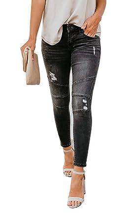 Amazon.com: Pantalones vaqueros para mujer de alta altura ...