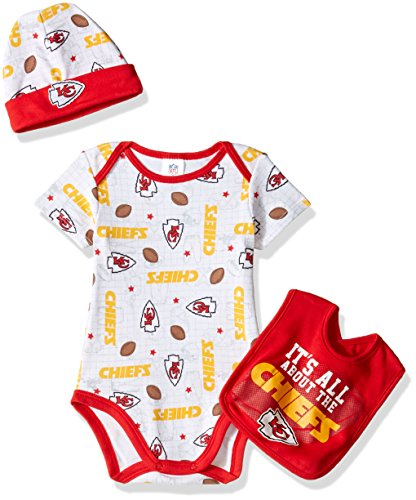 NFL Kansas City Chiefs Unisex-Baby Bodysuit, Pant, Cap Set, Red, 0-3 Months ()